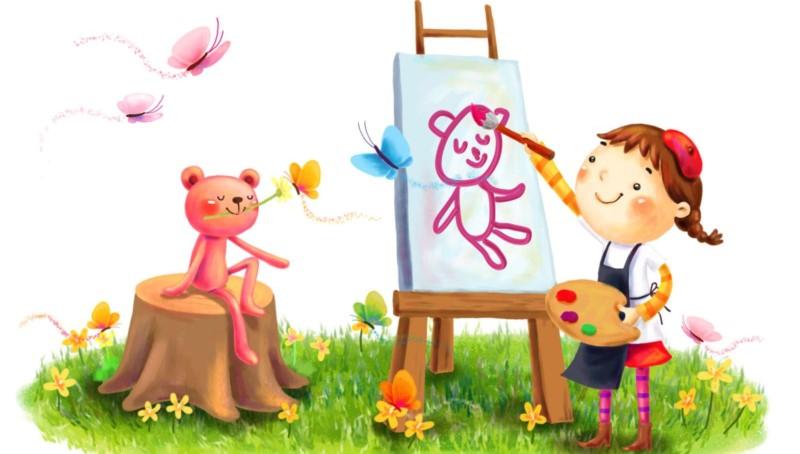 мальчик рисует мишку
